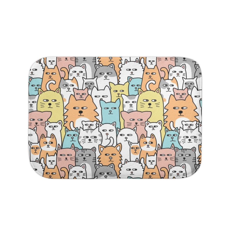 Suspicious Meow Home Bath Mat by Threadless Artist Shop