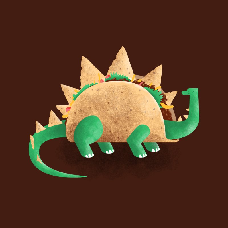Tacosaurus Home Mounted Aluminum Print by Threadless Artist Shop