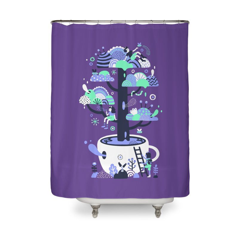 Up a tree cup Home Shower Curtain by Threadless Artist Shop