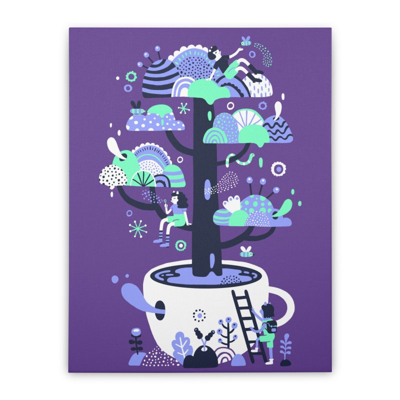 Up a tree cup Home Stretched Canvas by Threadless Artist Shop