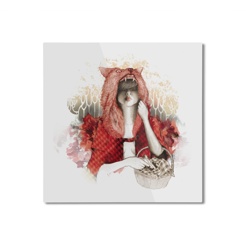RED Home Mounted Aluminum Print by Threadless Artist Shop