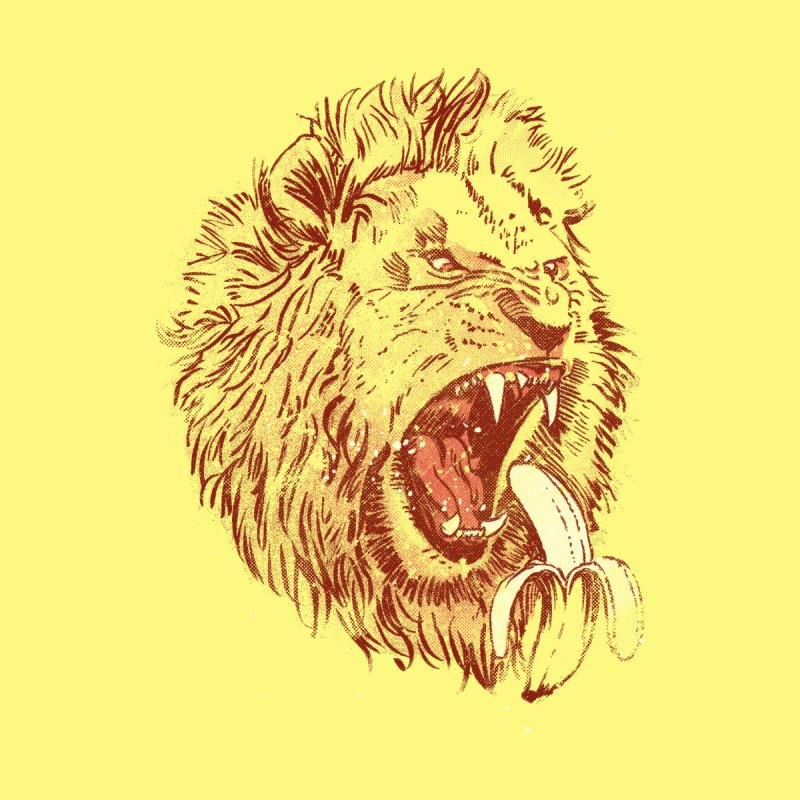 Banana Eating Lion Men's T-Shirt by Threadless Artist Shop