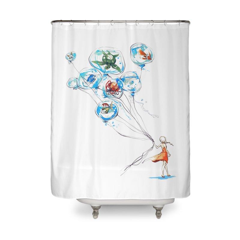 Water Balloons Home Shower Curtain by Threadless Artist Shop