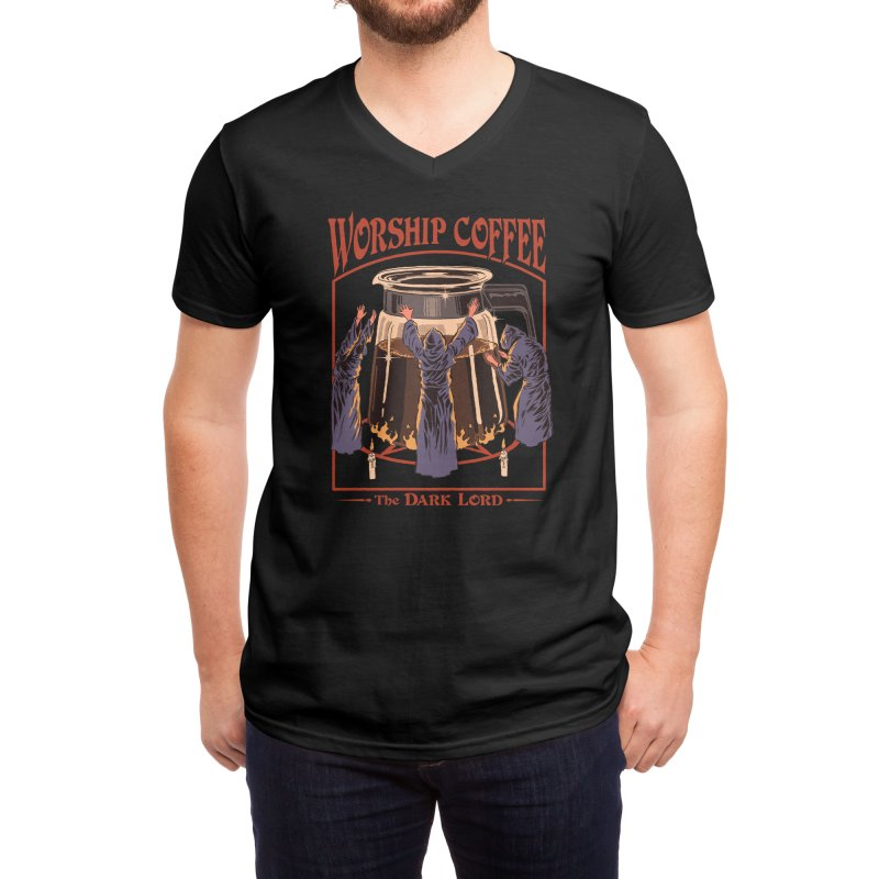 Worship Coffee Men's V-Neck by Threadless Artist Shop