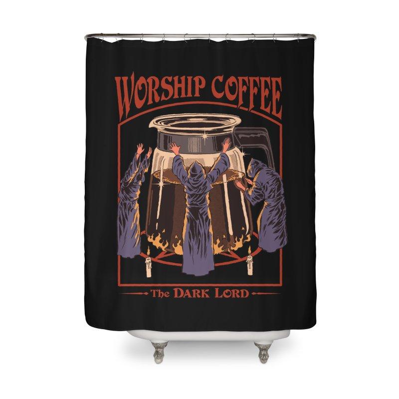 Worship Coffee Home Shower Curtain by Threadless Artist Shop