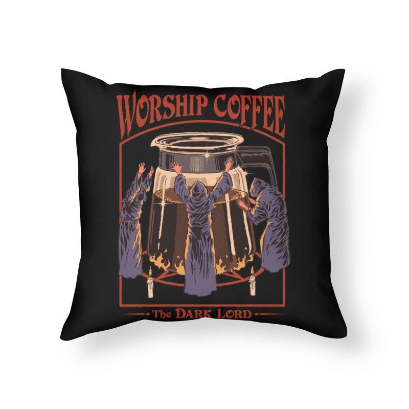 Worship Coffee Home Throw Pillow by Threadless Artist Shop