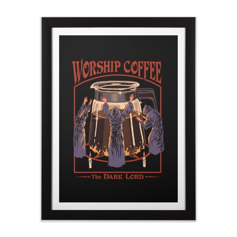 Worship Coffee Home Framed Fine Art Print by Threadless Artist Shop