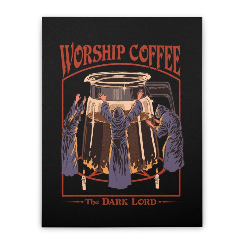 Worship Coffee Home Stretched Canvas by Threadless Artist Shop