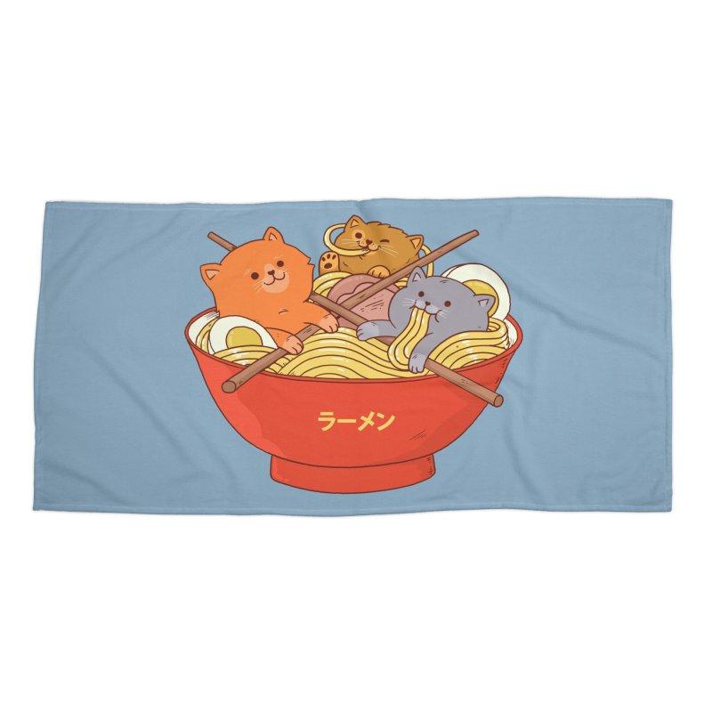 Ramen and cats Accessories Beach Towel by Threadless Artist Shop