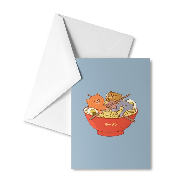 Ramen and cats Accessories Greeting Card by Threadless Artist Shop