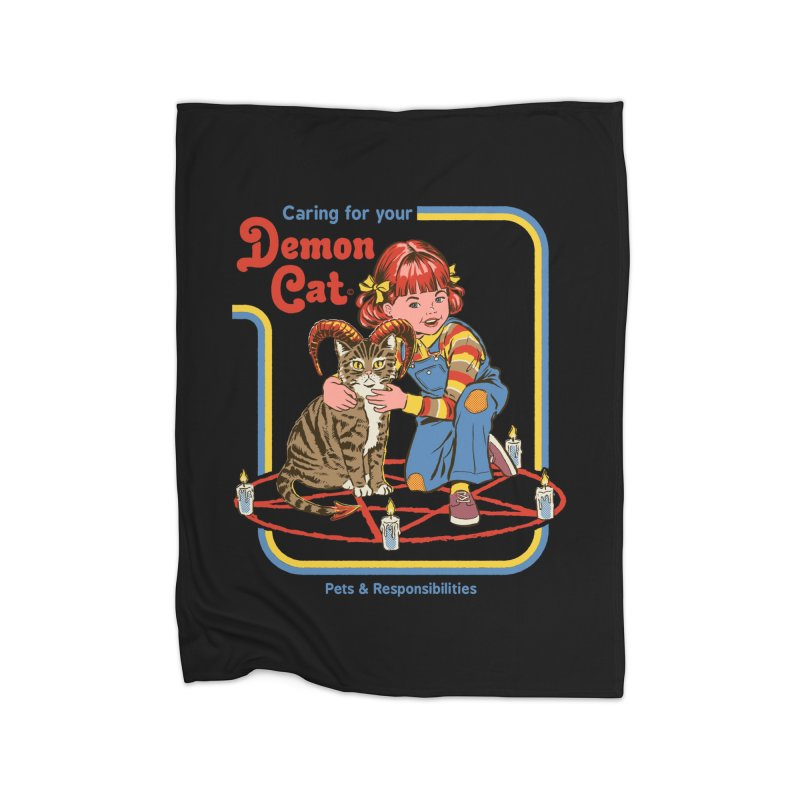 Caring for Your Demon Cat Home Blanket by Threadless Artist Shop