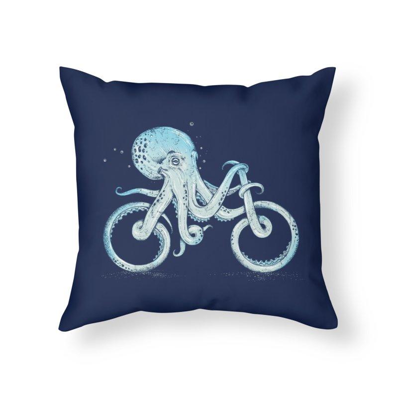 Octopus Bike Home Throw Pillow by Threadless Artist Shop