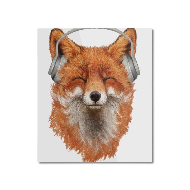 The Musical Fox Home Mounted Aluminum Print by Threadless Artist Shop