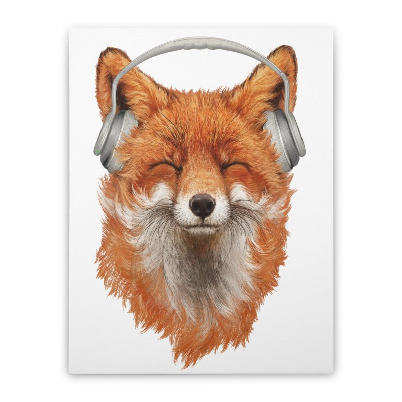 The Musical Fox Home Stretched Canvas by Threadless Artist Shop