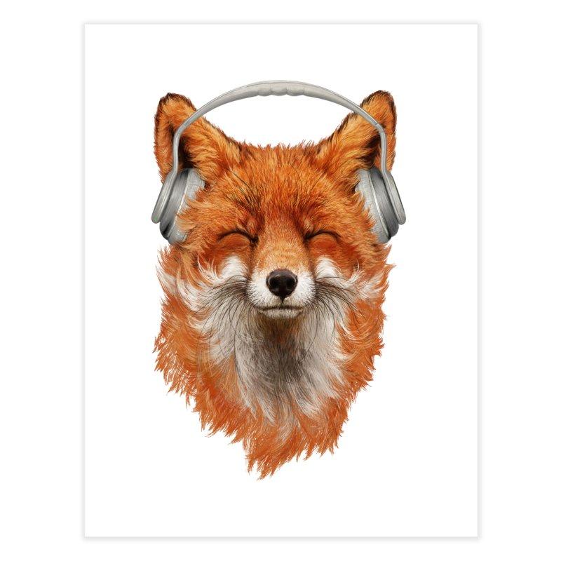 The Musical Fox Home Fine Art Print by Threadless Artist Shop