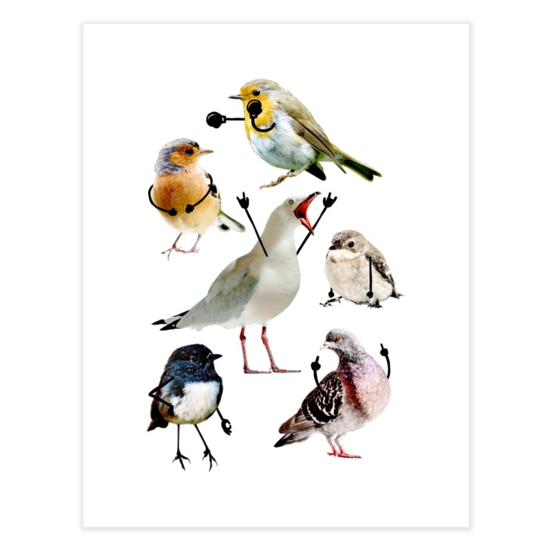 Birds with Arms Home Fine Art Print by Threadless Artist Shop