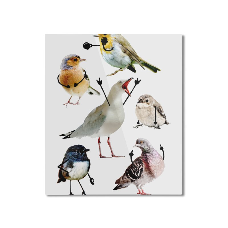 Birds with Arms Home Mounted Aluminum Print by Threadless Artist Shop