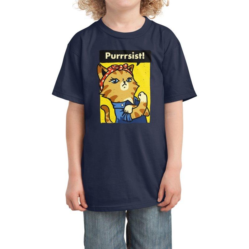 Purrrsist! Kids T-Shirt by Threadless Artist Shop