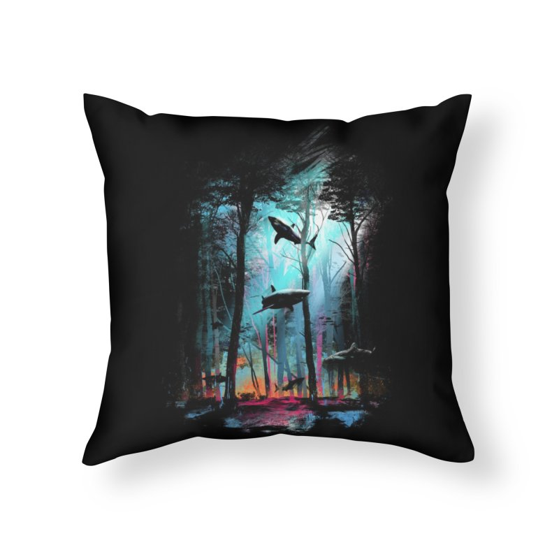 Shark Forest Home Throw Pillow by Threadless Artist Shop