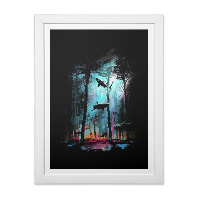 Shark Forest Home Framed Fine Art Print by Threadless Artist Shop