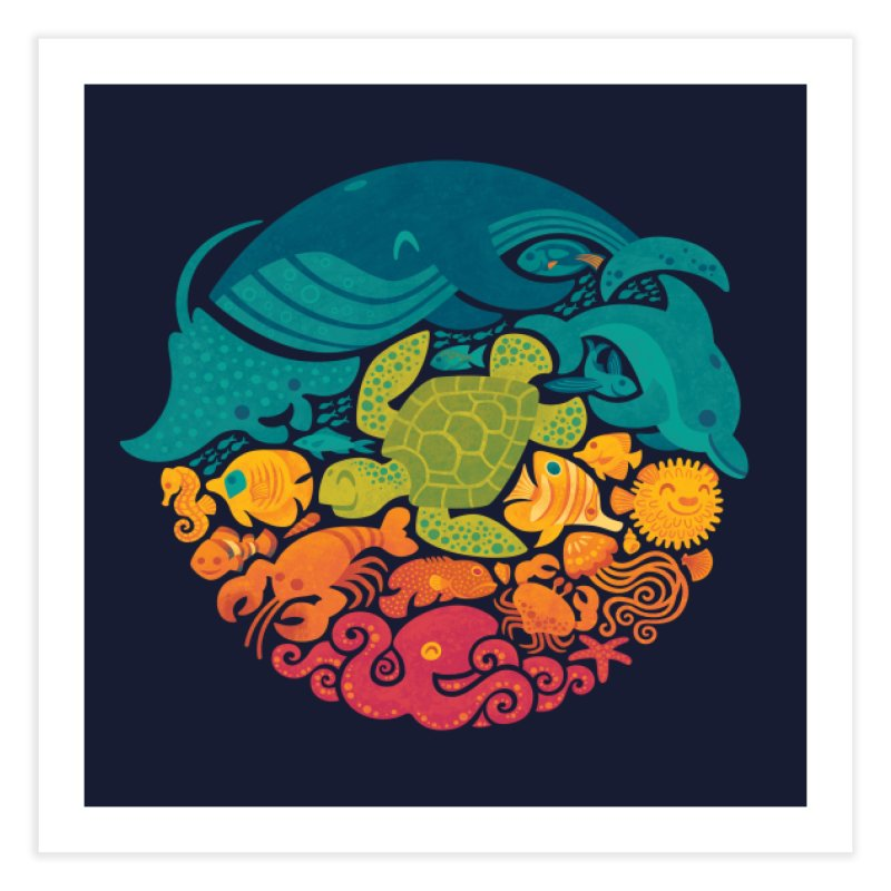 Aquatic Rainbow Home Fine Art Print by Threadless Artist Shop