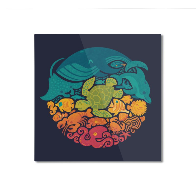 Aquatic Rainbow Home Mounted Aluminum Print by Threadless Artist Shop