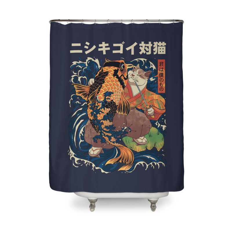 The Cat and the Koi Home Shower Curtain by Threadless Artist Shop