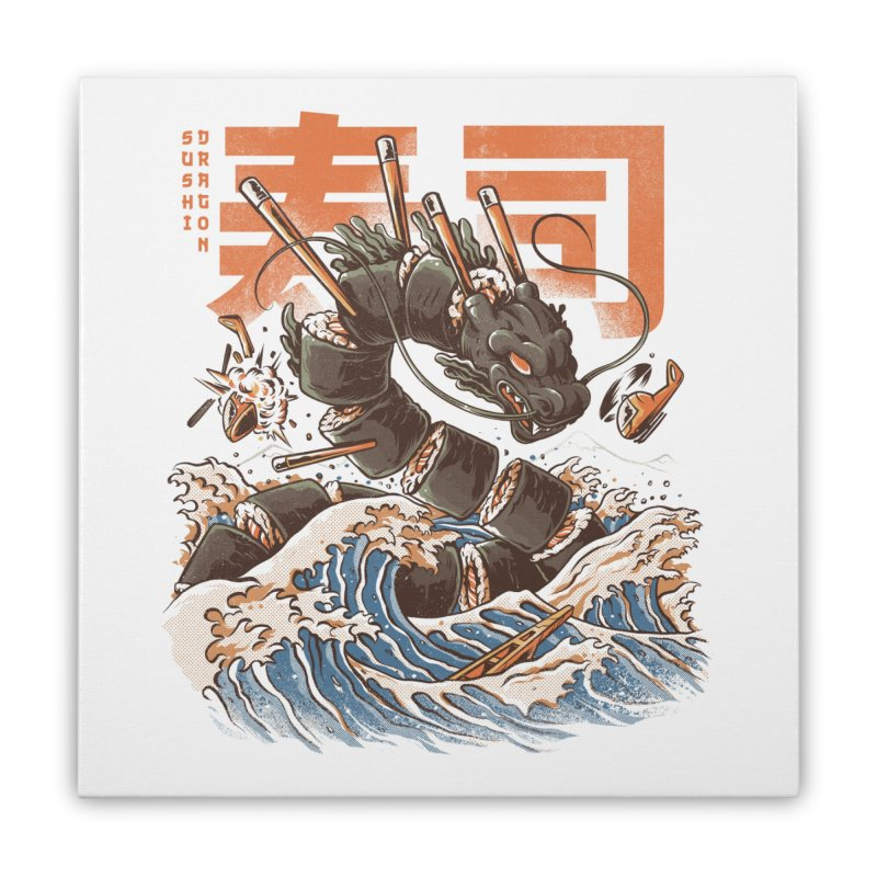 Great Sushi Dragon Home Stretched Canvas by Threadless Artist Shop