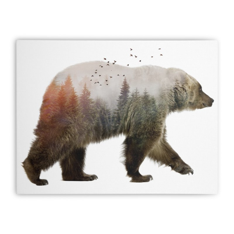 Bear Home Stretched Canvas by Threadless Artist Shop