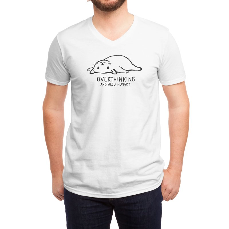 Overthinking and also Hungry Men's V-Neck by Threadless Artist Shop