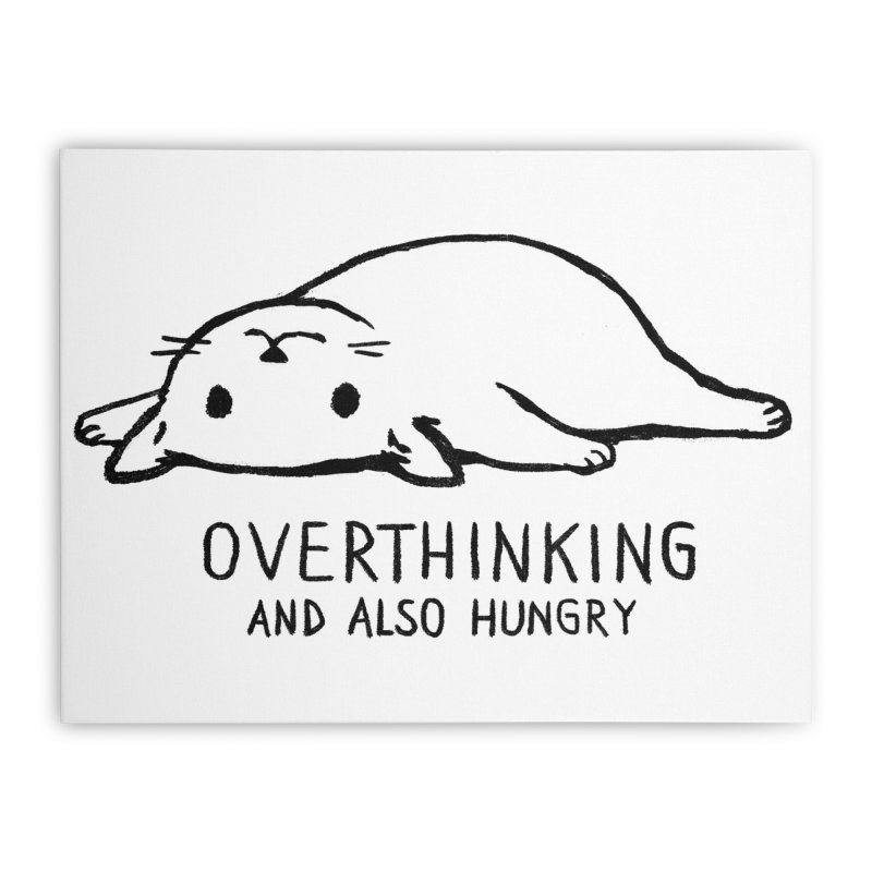 Overthinking and also Hungry Home Stretched Canvas by Threadless Artist Shop