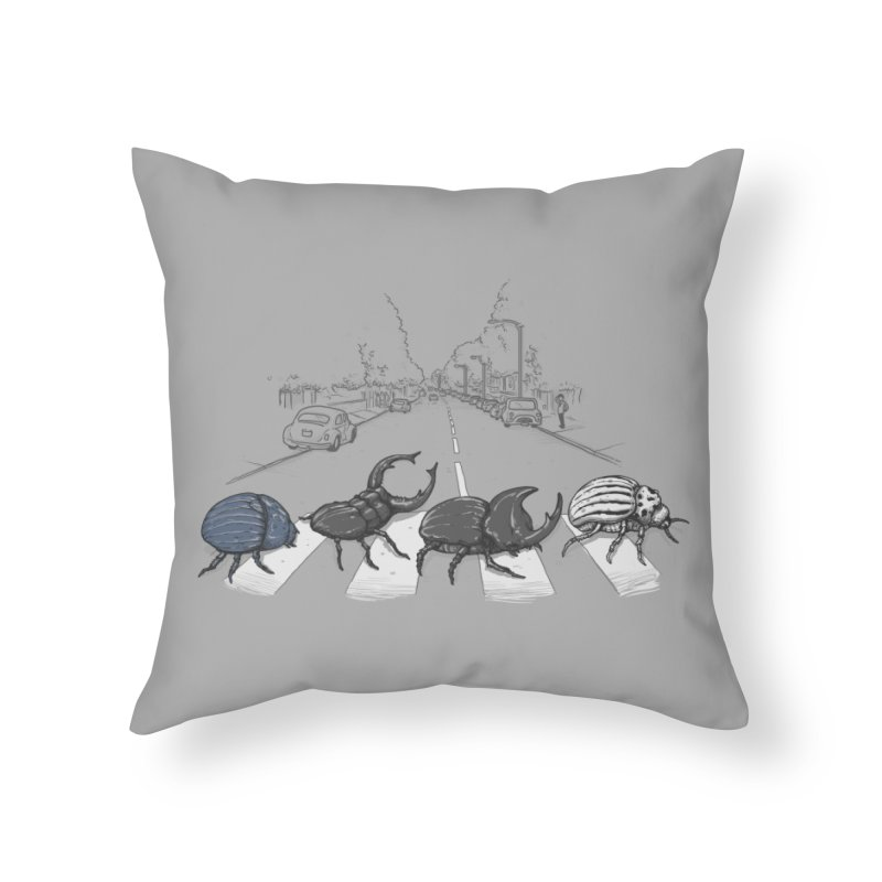 The Beetles Home Throw Pillow by Threadless Artist Shop