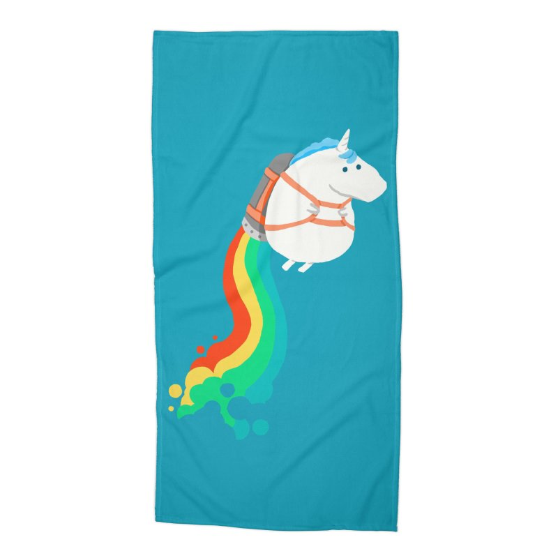 Fat Unicorn on Rainbow Jetpack Accessories Beach Towel by Threadless Artist Shop