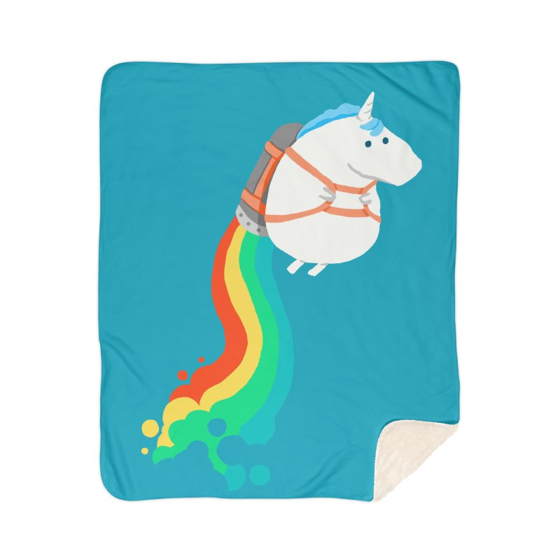 Fat Unicorn on Rainbow Jetpack Home Blanket by Threadless Artist Shop
