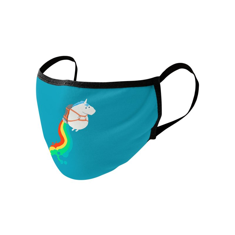 Fat Unicorn on Rainbow Jetpack Accessories Face Mask by Threadless Artist Shop