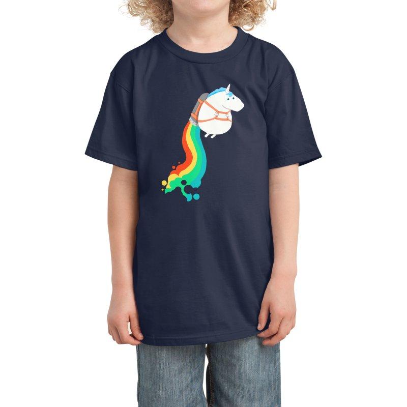 Fat Unicorn on Rainbow Jetpack Kids T-Shirt by Threadless Artist Shop