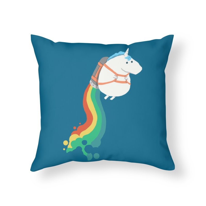 Fat Unicorn on Rainbow Jetpack Home Throw Pillow by Threadless Artist Shop