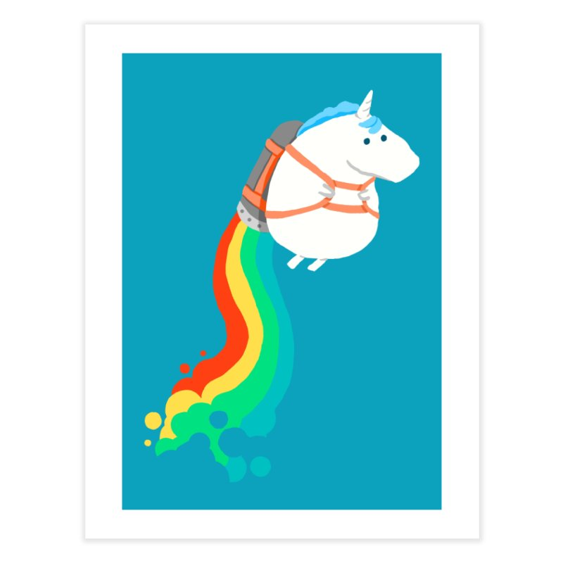 Fat Unicorn on Rainbow Jetpack Home Fine Art Print by Threadless Artist Shop