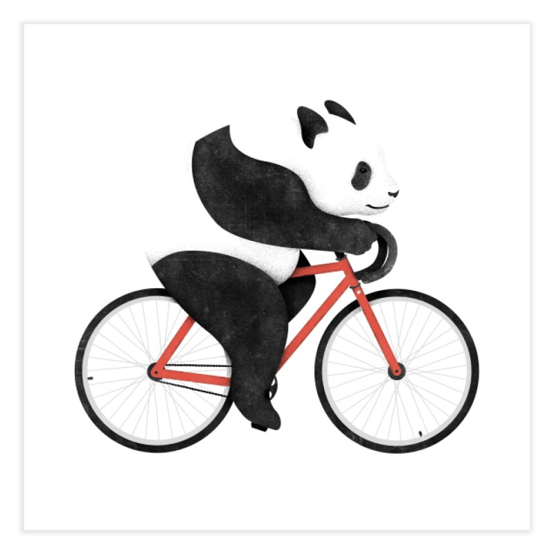 Panda Fixie Home Fine Art Print by Threadless Artist Shop