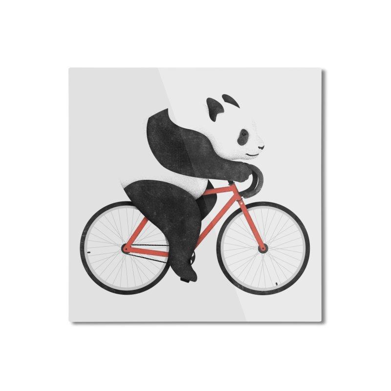 Panda Fixie Home Mounted Aluminum Print by Threadless Artist Shop