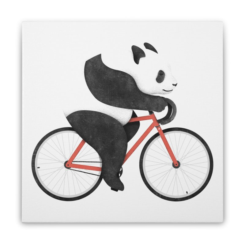 Panda Fixie Home Stretched Canvas by Threadless Artist Shop