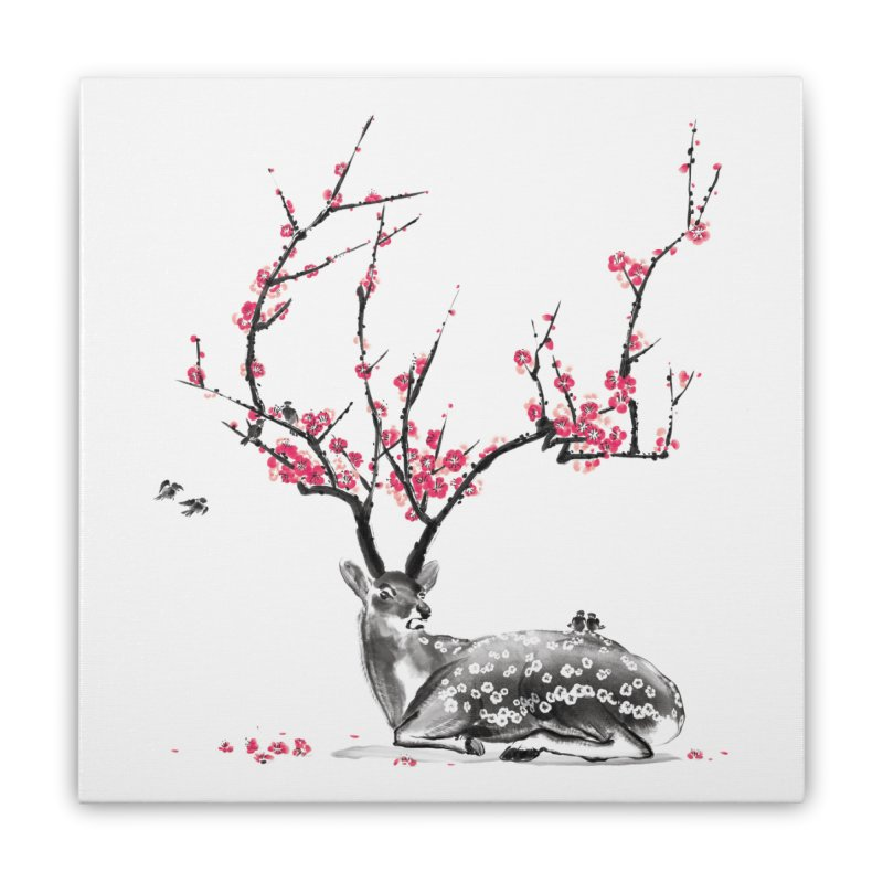 Blooming Home Stretched Canvas by Threadless Artist Shop
