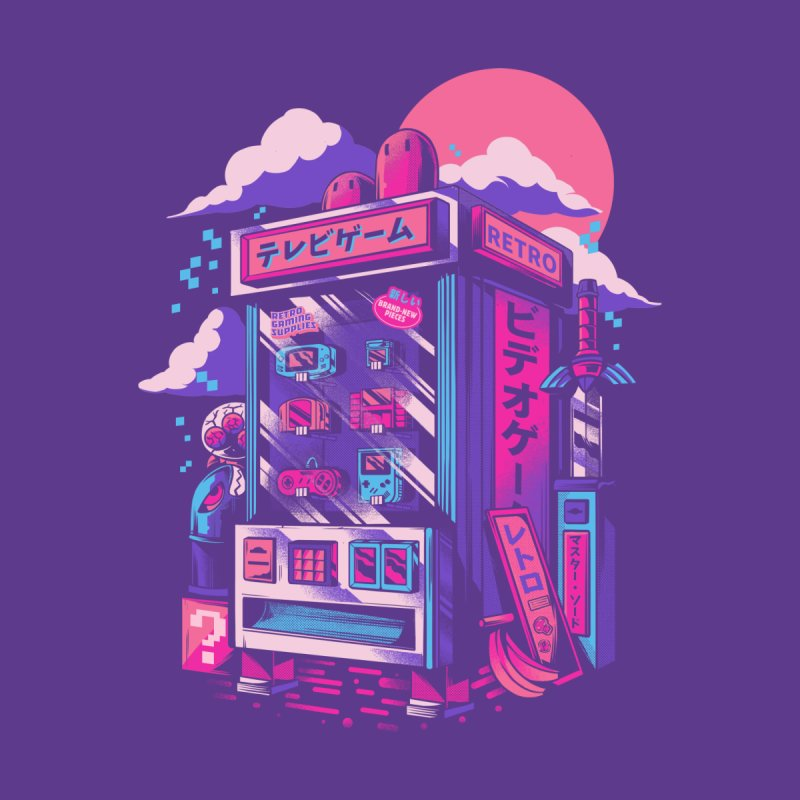 Retro gaming machine Home Mounted Aluminum Print by Threadless Artist Shop