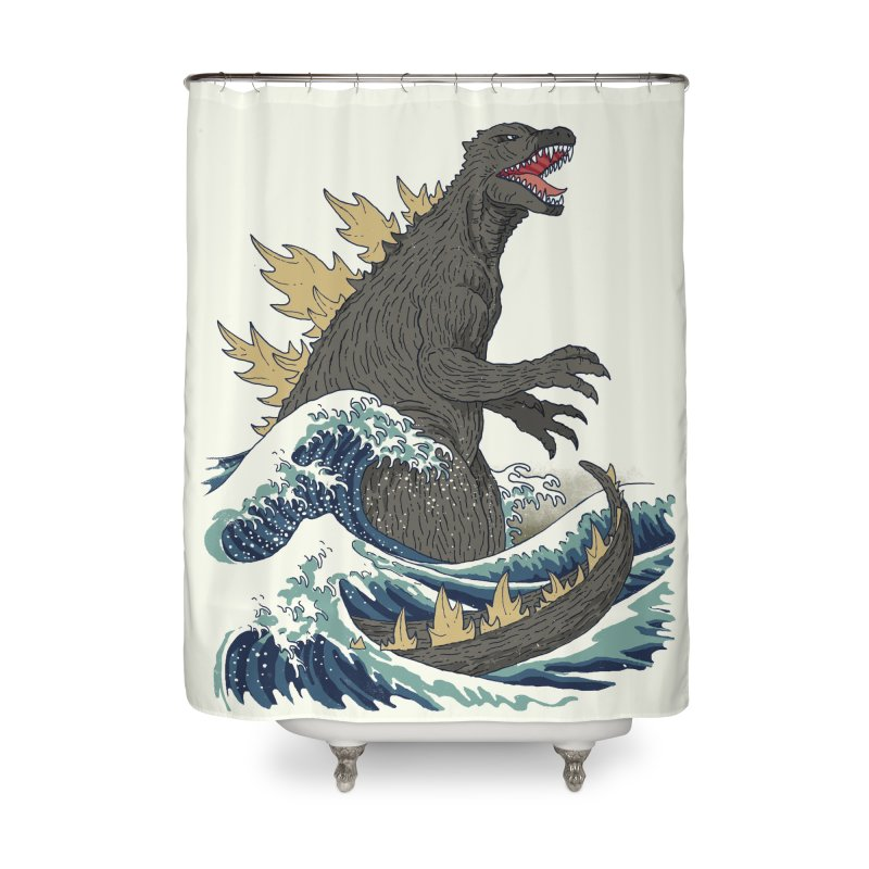 The Great Monster Off Kanagawa Home Shower Curtain by Threadless Artist Shop