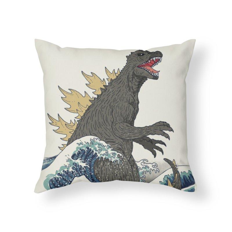 The Great Monster Off Kanagawa Home Throw Pillow by Threadless Artist Shop