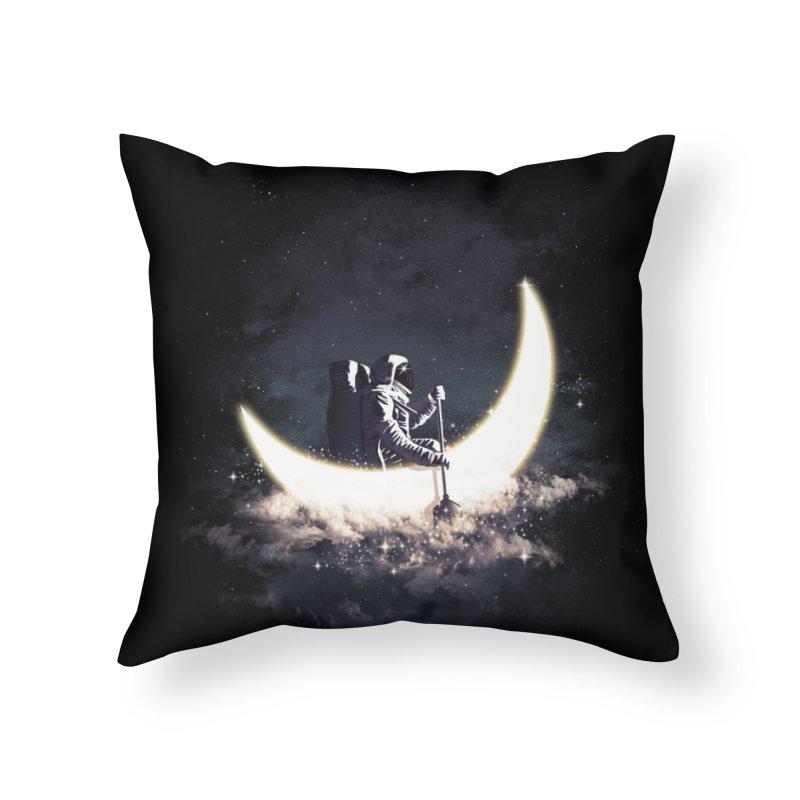 Moon Sailing Home Throw Pillow by Threadless Artist Shop