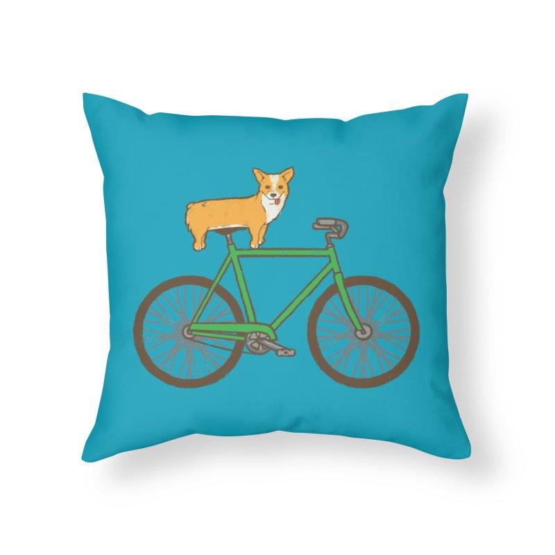 Corgi on a Bike Home Throw Pillow by Threadless Artist Shop