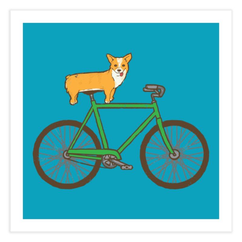 Corgi on a Bike Home Fine Art Print by Threadless Artist Shop