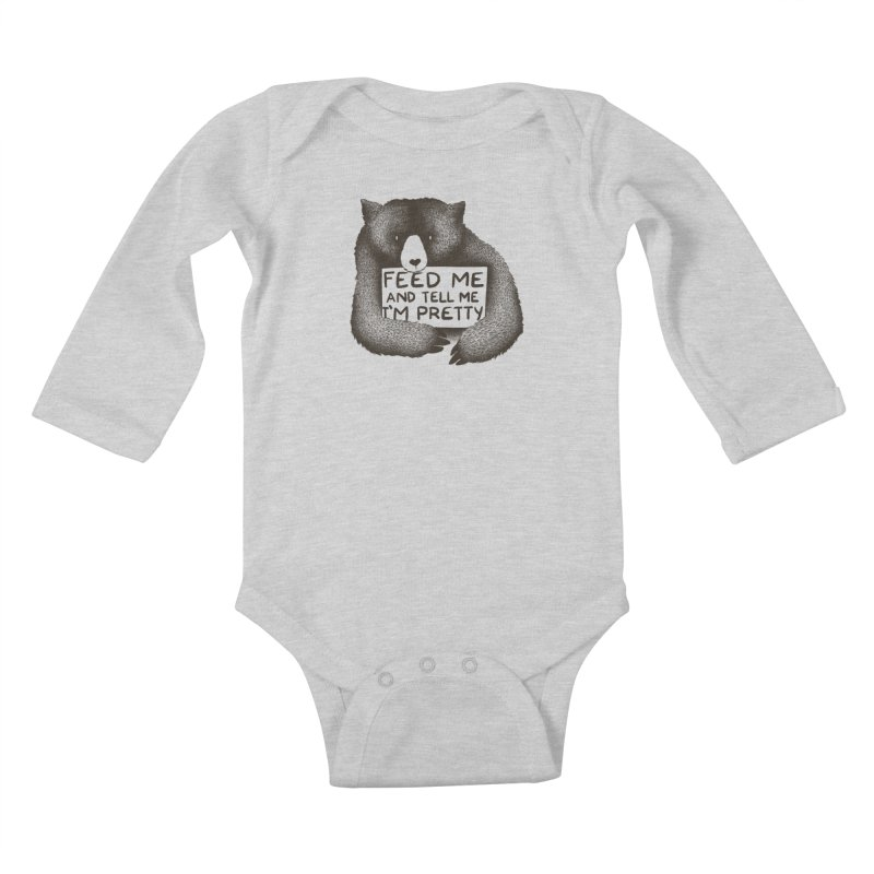 Feed Me And Tell Me I'm Pretty Kids Baby Longsleeve Bodysuit by Threadless Artist Shop