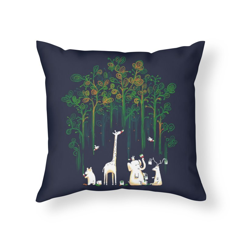 Meanwhile In The Woods Home Throw Pillow by Threadless Artist Shop